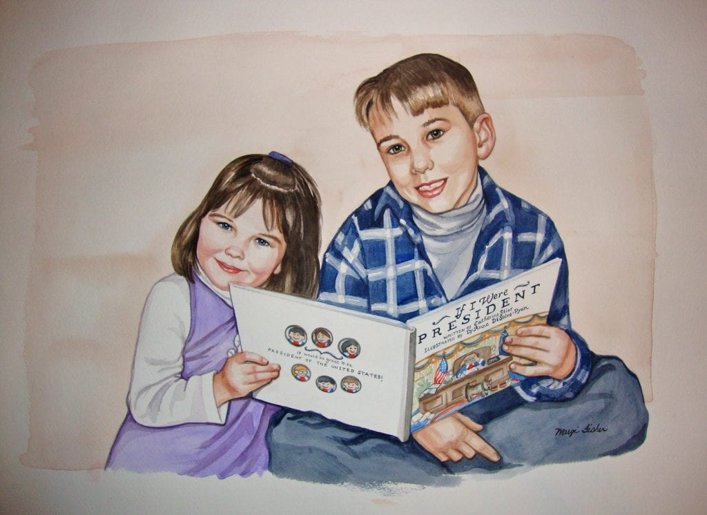 A painting of my own kids, reading my first book Watercolor portrait by San Antonio Artist Margi Fisher